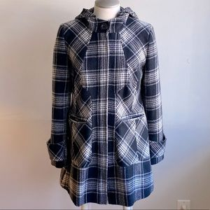 Plaid Pea Coat with Hood. No tags. Black White